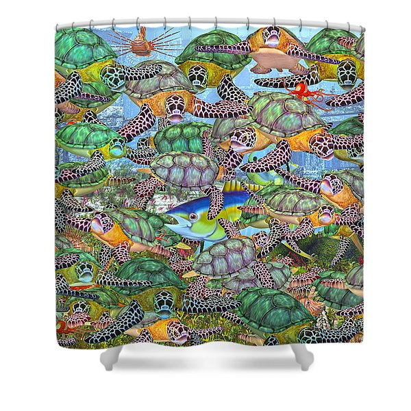 Protecting Mr. Bluefin  Shower Curtain by Betsy C  Knapp