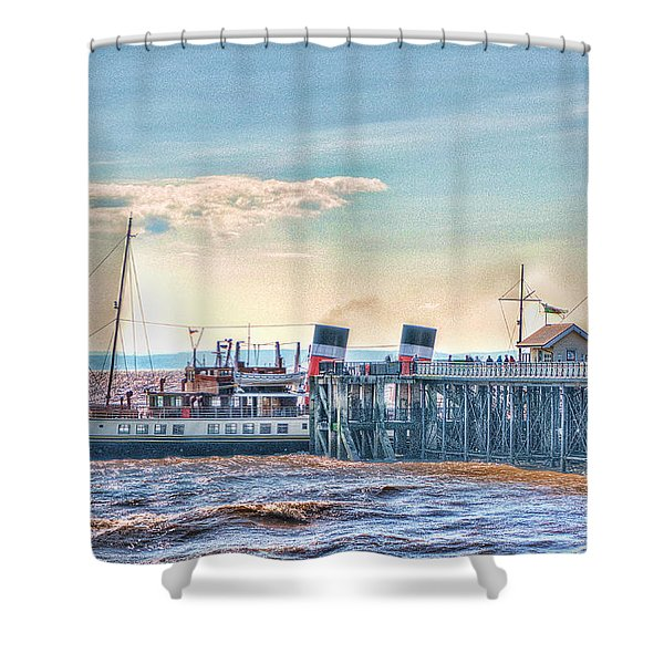 Ps Waverley At Penarth Pier Shower Curtain by Steve Purnell