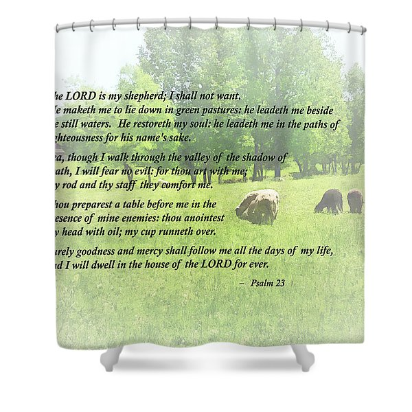 Psalm 23 The Lord Is My Shepherd Shower Curtain by Susan Savad