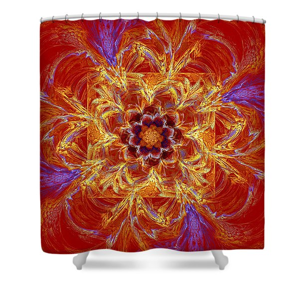 Psychedelic Spiral Vortex Red Orange And Blue Fractal Flame Shower Curtain by Keith Webber Jr
