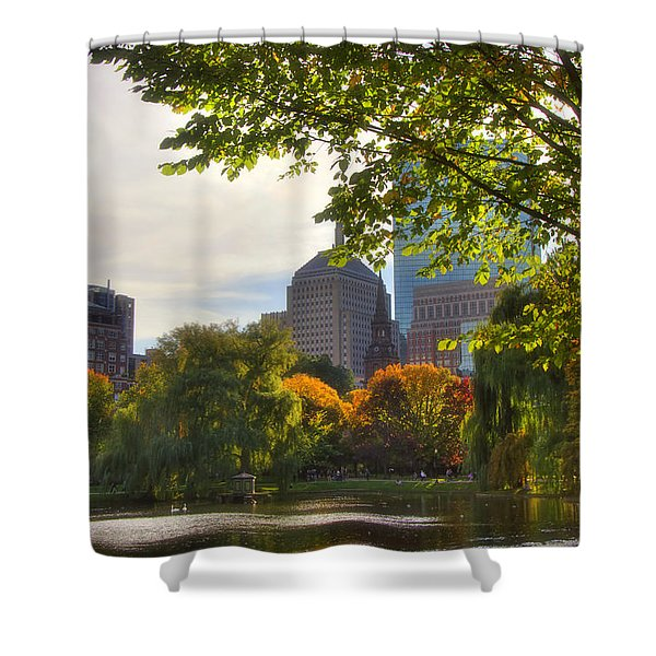 Public Garden Skyline Shower Curtain by Joann Vitali