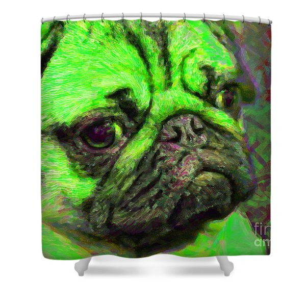 Pug 20130126v4 Shower Curtain by Wingsdomain Art and Photography