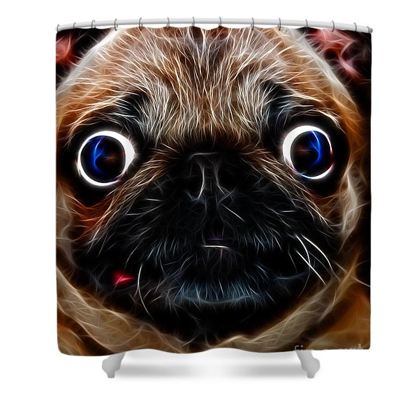 Pug Dog - Electric Shower Curtain by Wingsdomain Art and Photography