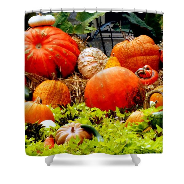PUMPKIN HARVEST Shower Curtain by KAREN WILES
