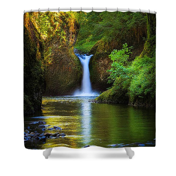 Punchbowl Falls Shower Curtain by Inge Johnsson