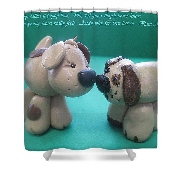 Puppy Love Shower Curtain by Barbara Snyder