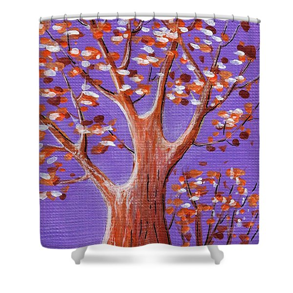 Purple And Orange Shower Curtain by Anastasiya Malakhova