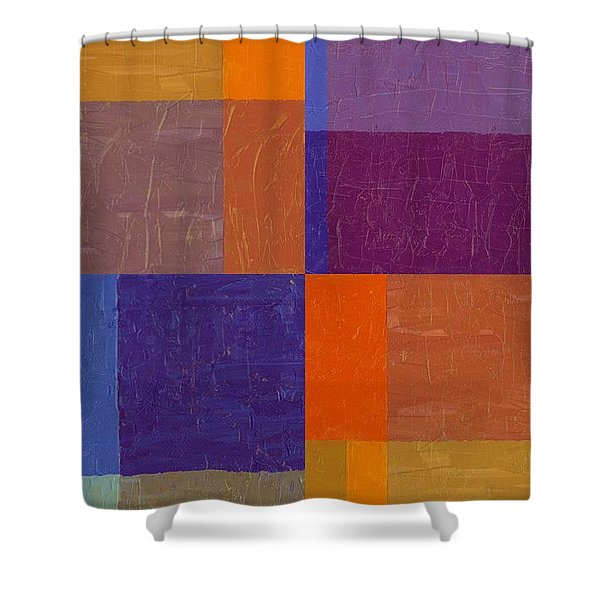Purple and Orange Get Married Shower Curtain by Michelle Calkins