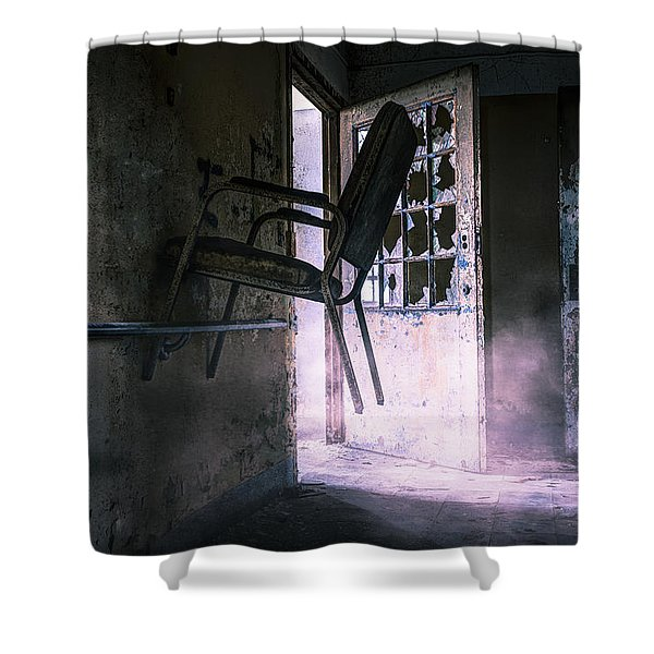 Purple Haze - Strange scene in an abandoned psychiatric facility Shower Curtain by Gary Heller