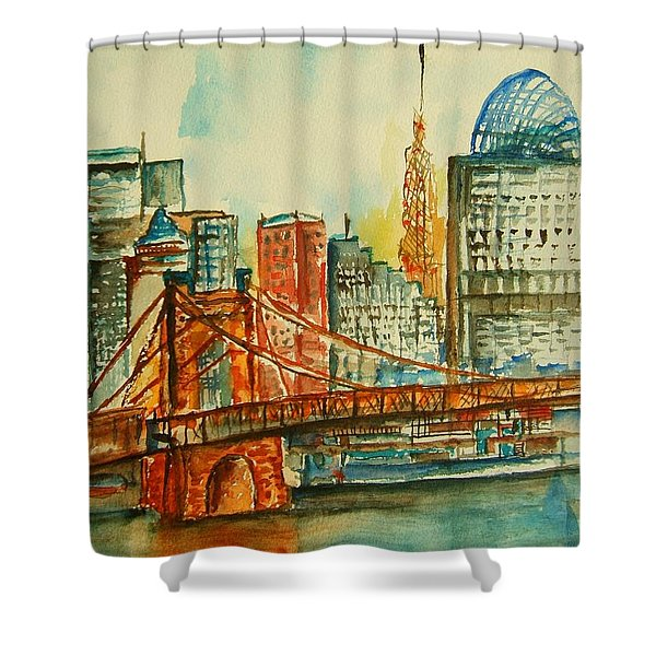 Queen City Skyline Cincinnati Oh Shower Curtain by Elaine Duras