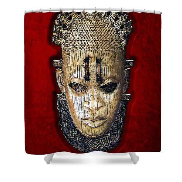 Queen Mother Idia - Ivory Hip Pendant Mask - Nigeria - Edo Peoples - Court of Benin on Red Velvet Shower Curtain by Serge Averbukh