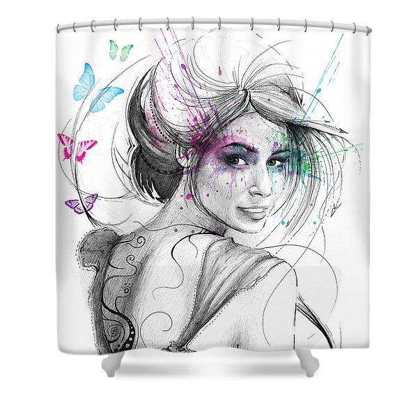 Queen Of Butterflies Shower Curtain by Olga Shvartsur