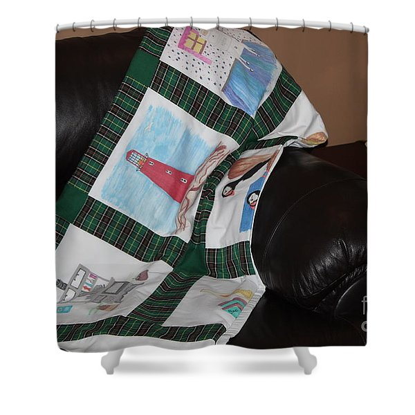 Quilt Newfoundland Tartan Green Posts Shower Curtain by Barbara Griffin