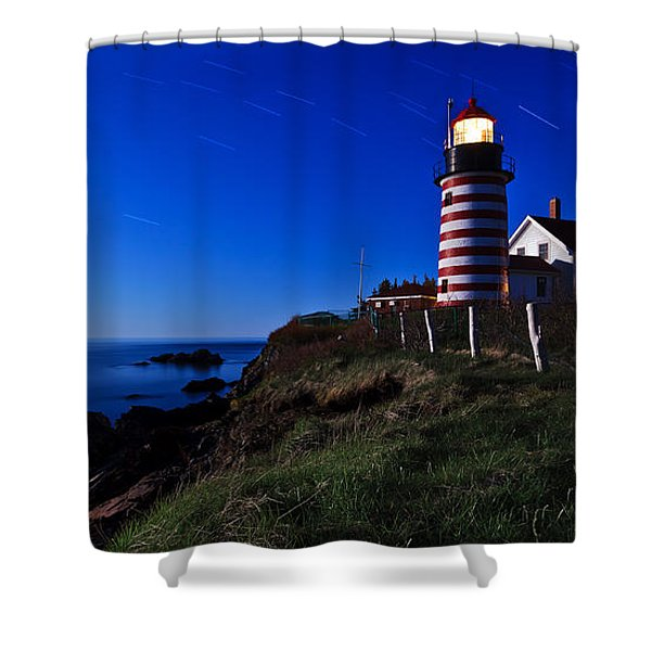 Quoddy Head by Moonlight Panorama Shower Curtain by Bill Caldwell -        ABeautifulSky Photography