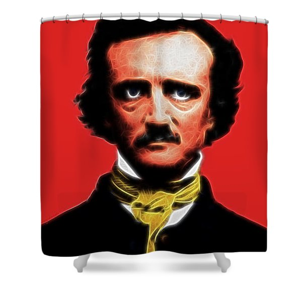 Quoth The Raven Nevermore - Edgar Allan Poe - Electric Shower Curtain by Wingsdomain Art and Photography