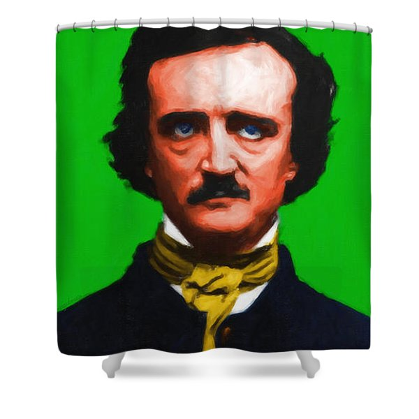 Quoth The Raven Nevermore - Edgar Allan Poe - Painterly - Green - With Text Shower Curtain by Wingsdomain Art and Photography