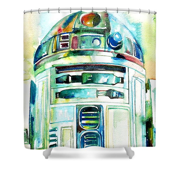 R2-D2 WATERCOLOR PORTRAIT Shower Curtain by Fabrizio Cassetta