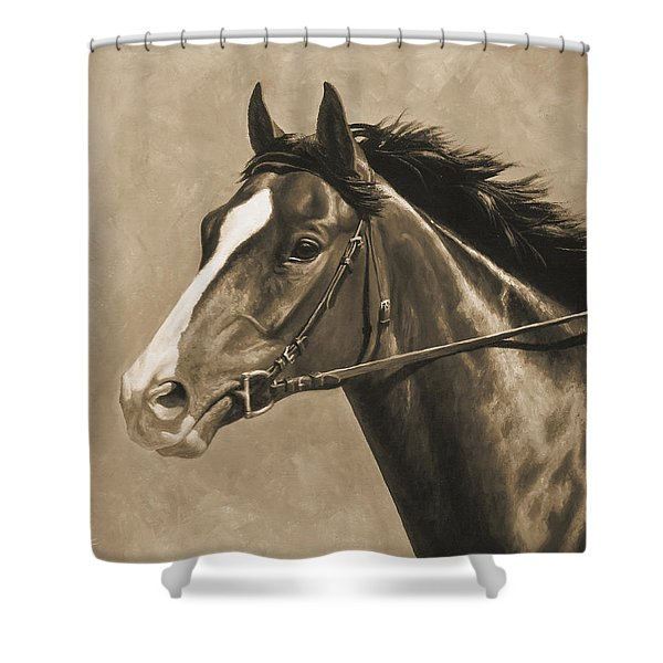 Racehorse Painting In Sepia Shower Curtain by Crista Forest