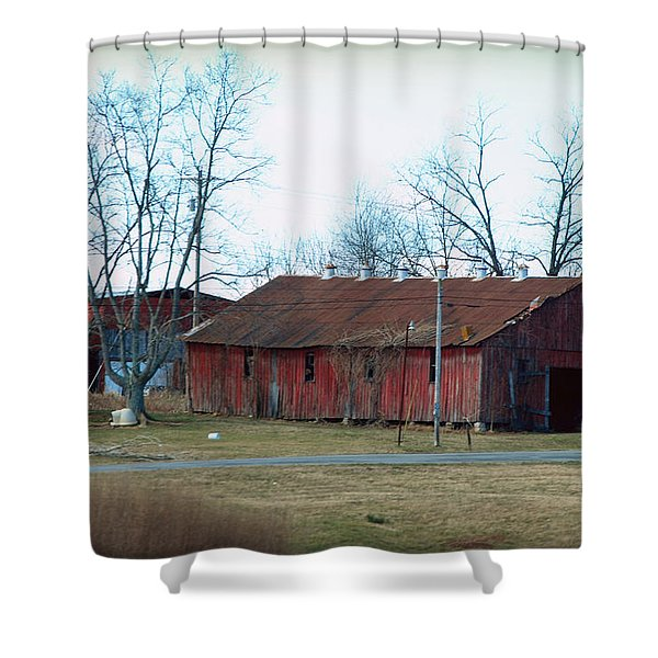 Ragged Red Shed I Shower Curtain by Paulette B Wright