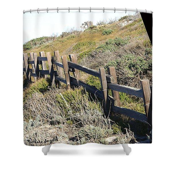 Rail Fence Black Shower Curtain by Barbara Snyder