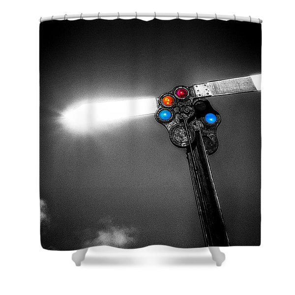 Railroad Signal Shower Curtain by Bob Orsillo