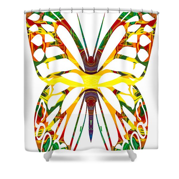 Rainbow Butterfly Abstract Nature Artwork Shower Curtain by Omaste Witkowski
