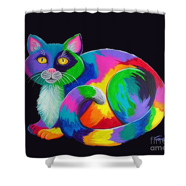 Rainbow Calico Shower Curtain by Nick Gustafson