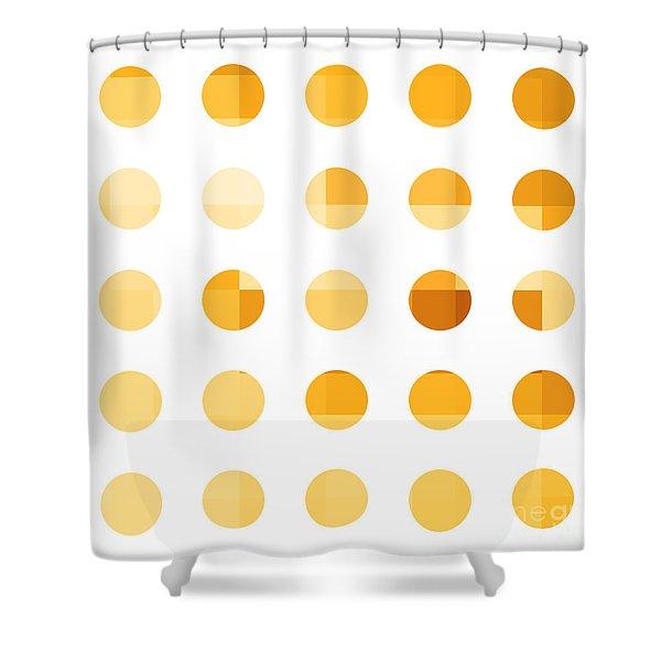 Rainbow Dots Orange Shower Curtain by Pixel Chimp
