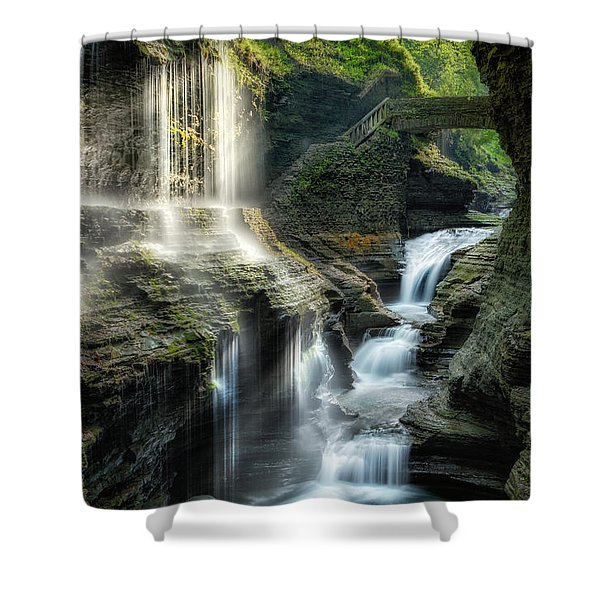 Rainbow Falls Shower Curtain by Bill  Wakeley
