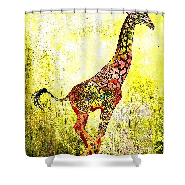 Rainbow Giraffe Shower Curtain by Daniel Janda