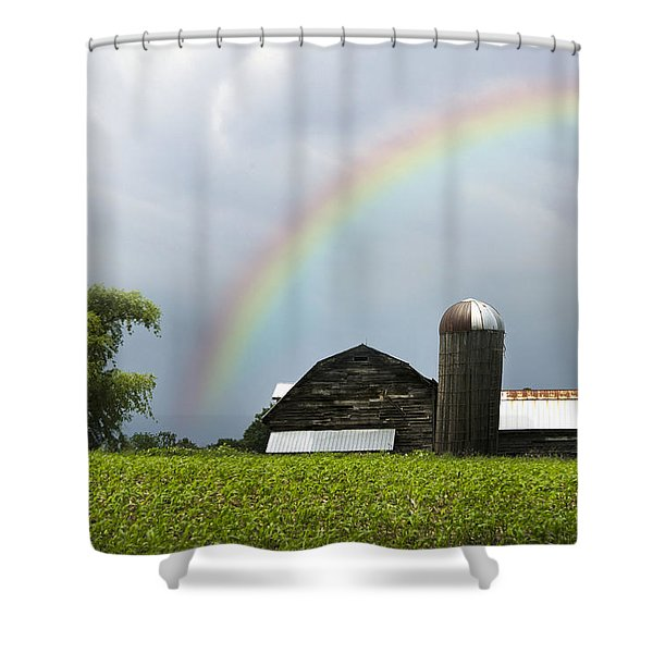 Rainbow Over Old Country Barn Shower Curtain by Christina Rollo