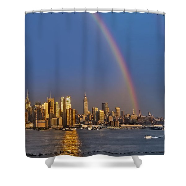 Rainbows Over The New York City Skyline Shower Curtain by Susan Candelario