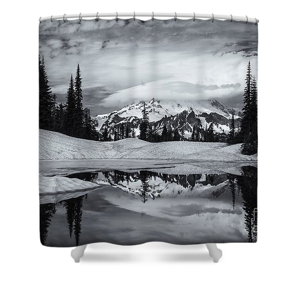 Rainier Reflections Shower Curtain by Mike  Dawson