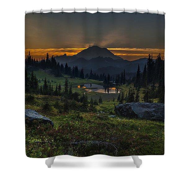 Rainier Sunset Basin Shower Curtain by Mike Reid