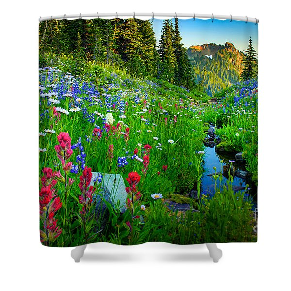 Rainier Wildflower Creek Shower Curtain by Inge Johnsson