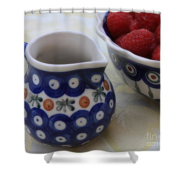 Raspberries with Cream Shower Curtain by Carol Groenen