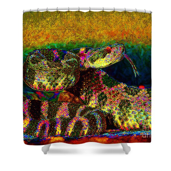 Rattlesnake 20130204p0 Shower Curtain by Wingsdomain Art and Photography