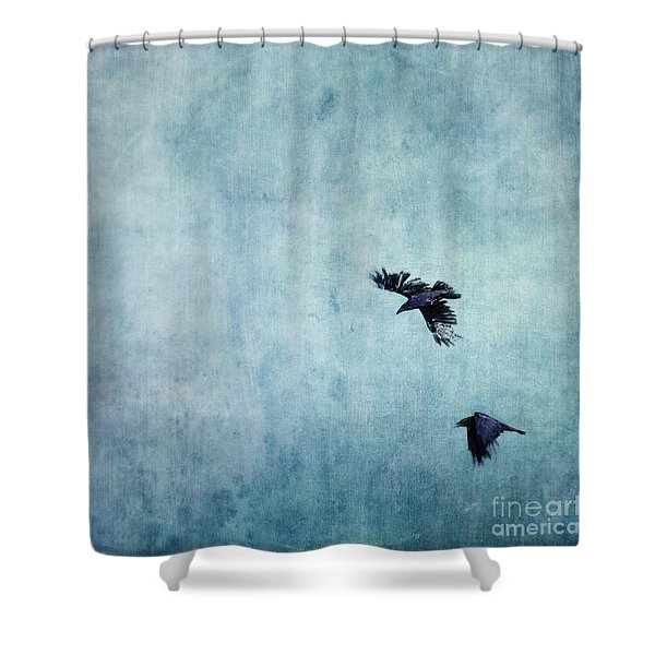 Ravens Flight Shower Curtain by Priska Wettstein