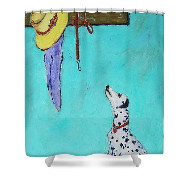 Ready To Go Out Shower Curtain by Xueling Zou