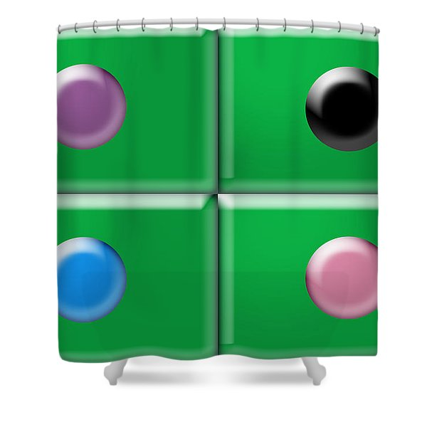 Rectangles and Circles Shower Curtain by Gary Silverstein