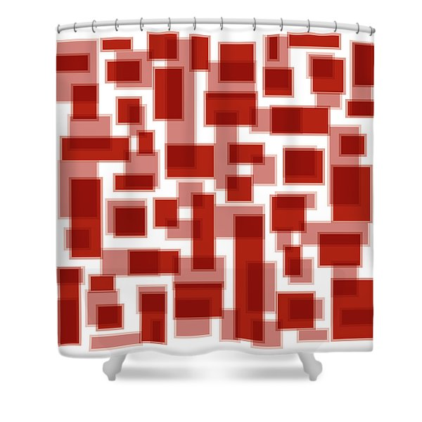 Red Abstract Patches Shower Curtain by Frank Tschakert