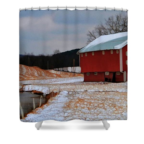 Red Amish Barn In Winter Shower Curtain by Dan Sproul