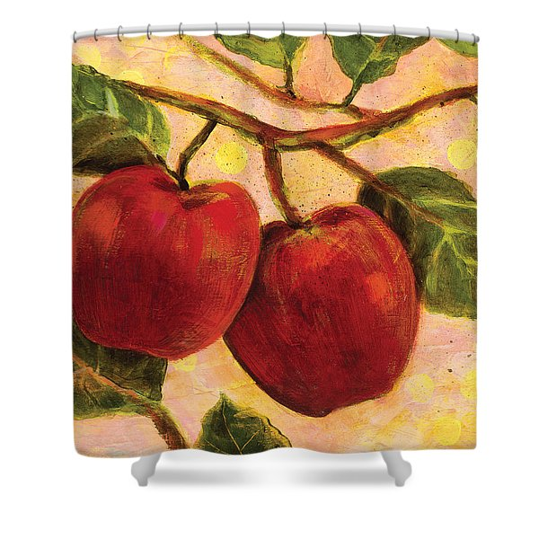 Red Apples on a Branch Shower Curtain by Jen Norton