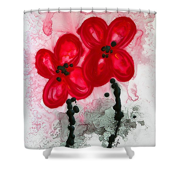 Black And White Flowers Shower Curtains - Red Asian Poppies Shower ...
