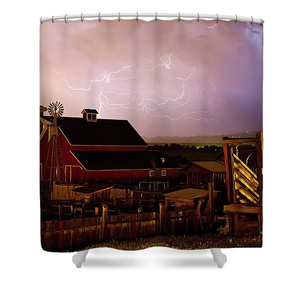 Red Barn On The Farm and Lightning Thunderstorm Shower Curtain by James BO  Insogna