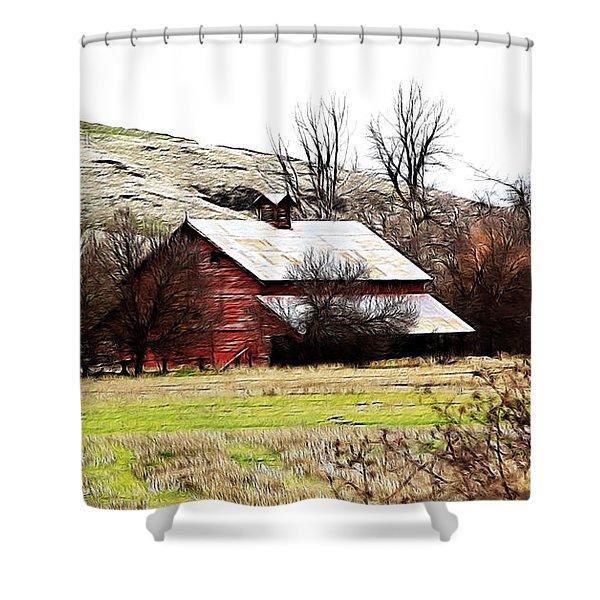 Red Barn Shower Curtain by Steve McKinzie