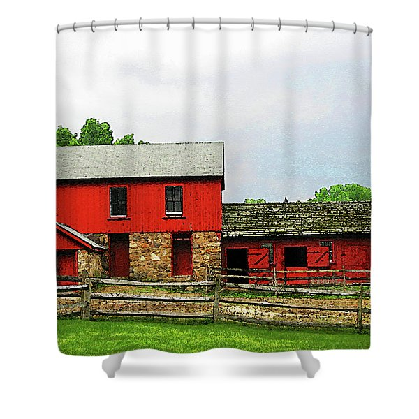 Red Barn With Fence Shower Curtain by Susan Savad