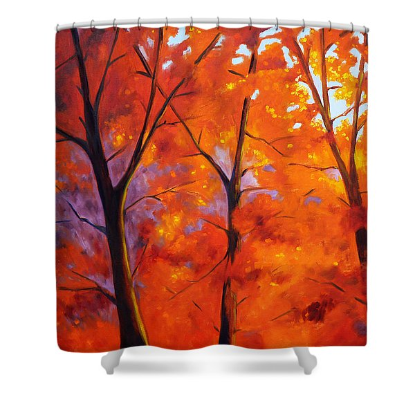 Red Blaze Shower Curtain by Nancy Merkle
