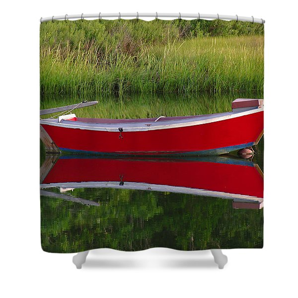 Red Boat Shower Curtain by Juergen Roth