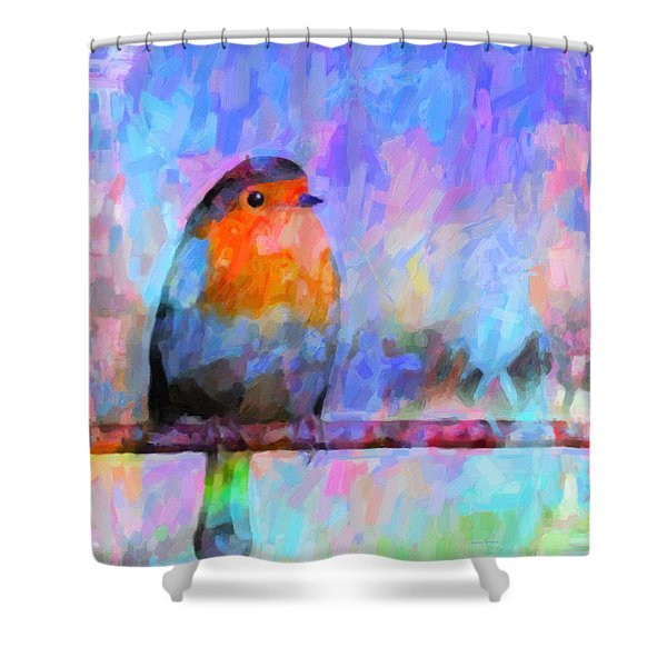 Red Breasted Robin Shower Curtain by Kenny Francis